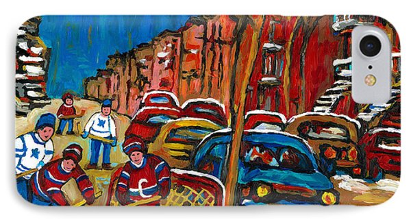 Paintings Of Montreal Hockey City Scenes IPhone Case by Carole Spandau