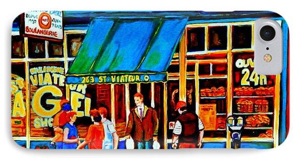 Paintings Of Montreal Memories Bagel And Bread Shop St. Viateur Boulangerie Depanneur City Scenes Phone Case by Carole Spandau