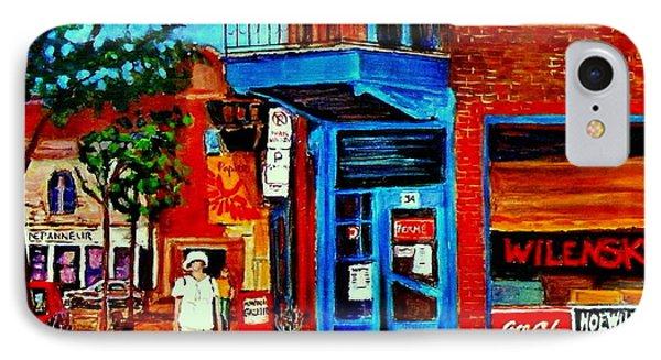 Paintings Of Montreal Memories Moe Wilenskys Famous Corner Deli  Montreal Spring City Scene Phone Case by Carole Spandau