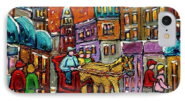 Paintings Of Old Quebec Magical Vieux Port Montreal City Scenes Caleche In Winter Carole Spandau Phone Case by Carole Spandau