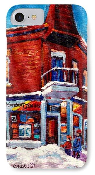 Paintings Of Verdun Depanneur 7 Jours Montreal Winter Street Scenes By Carole Spandau Phone Case by Carole Spandau