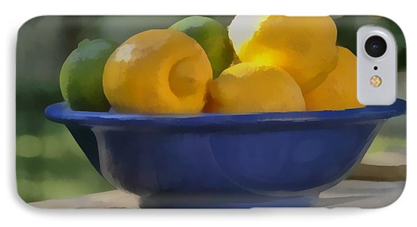IPhone Case featuring the photograph Paintlike Lemons And Limes In Blue Bowl by Michael Flood