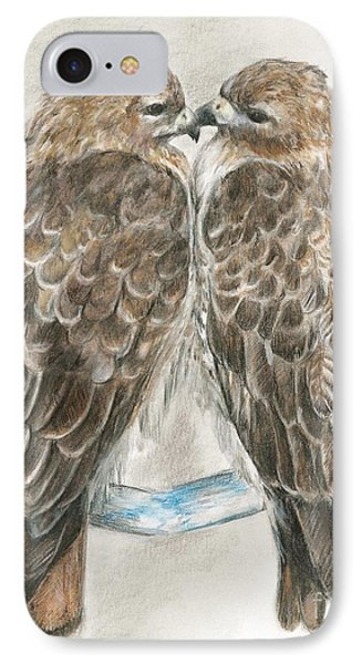 IPhone Case featuring the drawing Pair Of Hawks by Meagan  Visser