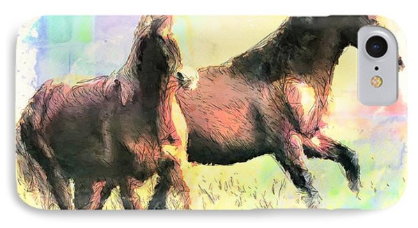 IPhone Case featuring the painting Pair Of Horses by Wayne Pascall