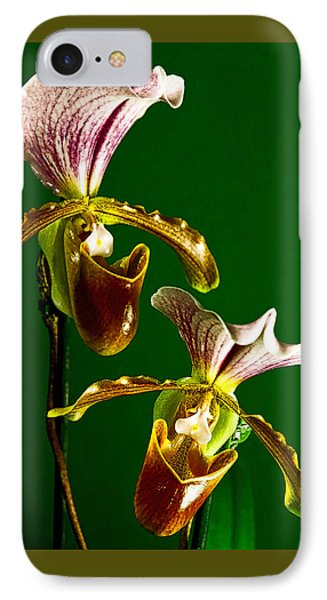 IPhone Case featuring the photograph Pair Of Lady Slipper Orchids by Elf Evans