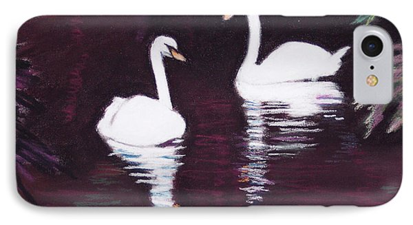 Pair Of White Swans Swimming IPhone Case