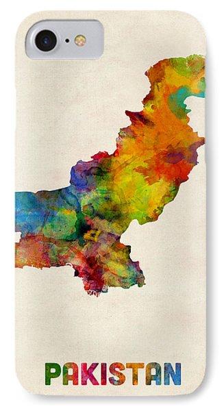 Pakistan Watercolor Map IPhone Case