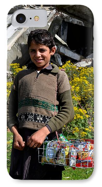 IPhone Case featuring the photograph Pakistani Boy In Front Of Hotel Ruins In Swat Valley by Imran Ahmed