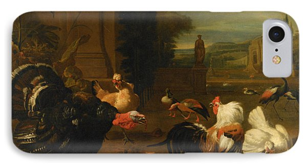 Palace Garden Exotic Birds And Farmyard Fowl IPhone Case by Melchior de Hondecoeter