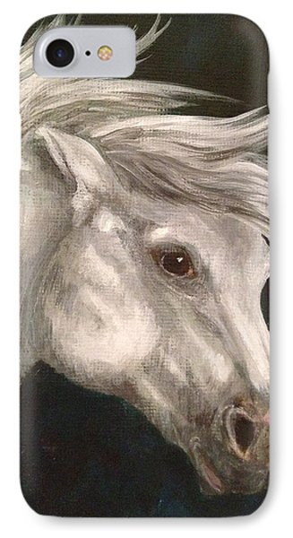 Pale Grey Horse IPhone Case by K Simmons Luna