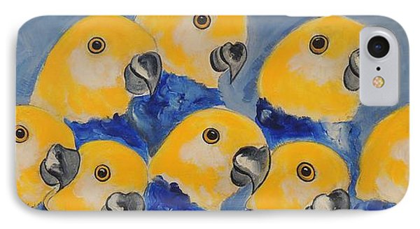 IPhone Case featuring the painting Pale Head Parrots by Lyn Olsen