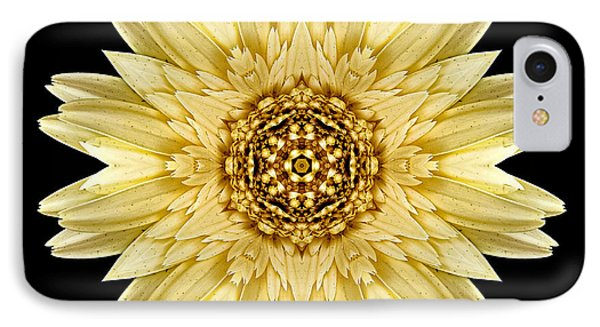 IPhone Case featuring the photograph Pale Yellow Gerbera Daisy I Flower Mandala by David J Bookbinder