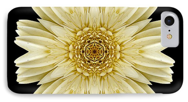 IPhone Case featuring the photograph Pale Yellow Gerbera Daisy IIi Flower Mandala by David J Bookbinder