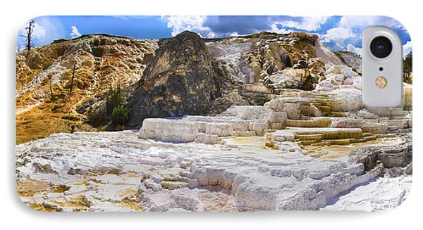 Palette Spring Terrace Panorama - Yellowstone National Park Wyoming IPhone Case by Brian Harig