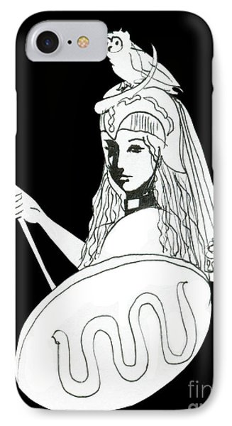 Pallas Athena Ink Drawing With Attributes IPhone Case