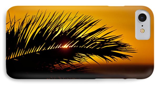 Palm Leaf In Sunset IPhone Case by Yngve Alexandersson