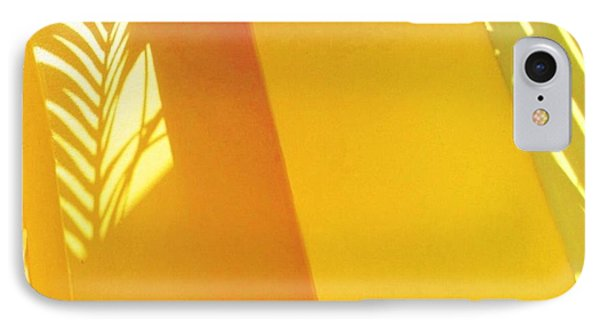 Palm Shadow On Yellow Wall - Square IPhone Case