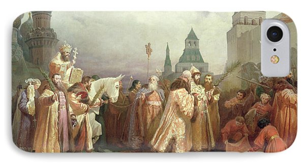 Palm Sunday Procession Under The Reign Of Tsar Alexis Romanov IPhone Case by Viatcheslav Grigorievitch Schwarz