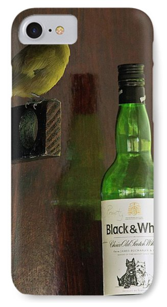 Palm Tanager And Whisky Bottle IPhone Case by Bob Gibbons