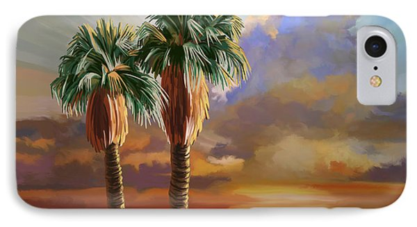 IPhone Case featuring the painting Palm Tree Cabo Sunset by Tim Gilliland