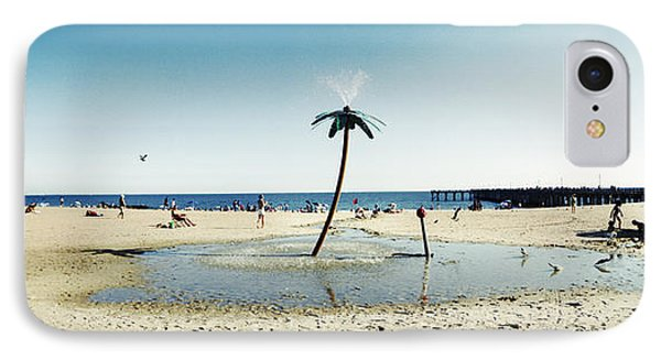 Palm Tree Sprinkler On The Beach, Coney IPhone Case by Panoramic Images