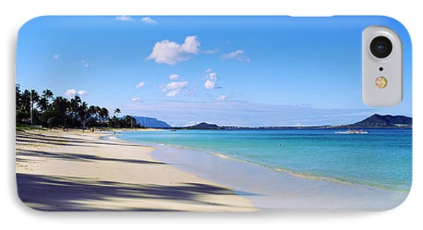 Palm Trees On The Beach, Lanikai Beach IPhone Case by Panoramic Images