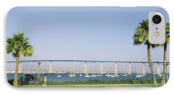 Palm Trees On The Coast With Bridge IPhone Case by Panoramic Images