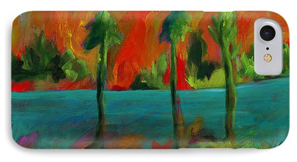 Palm Trio Sunset IPhone Case by Elizabeth Fontaine-Barr