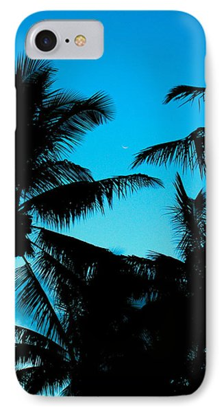 IPhone Case featuring the photograph Palms At Dusk With Sliver Of Moon by Lehua Pekelo-Stearns