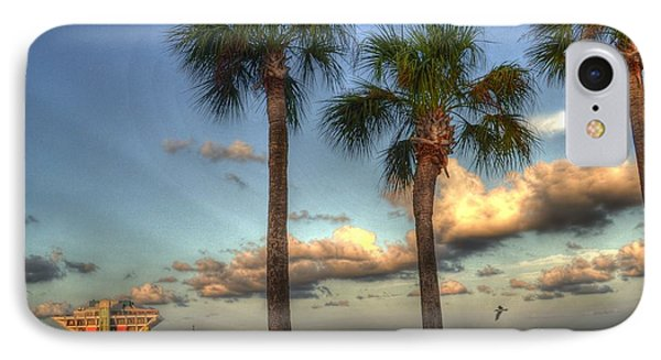 Palms At The Pier IPhone Case by Timothy Lowry
