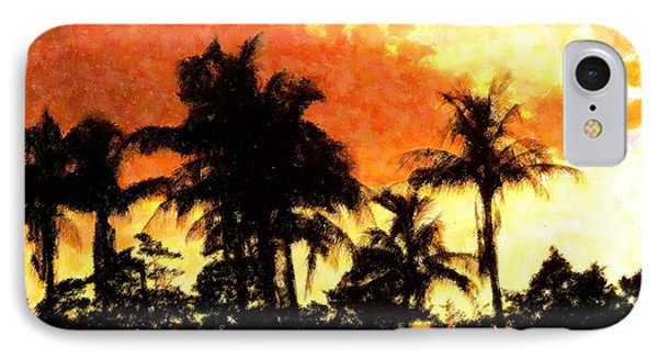 Palms See Red Phone Case by Florene Welebny