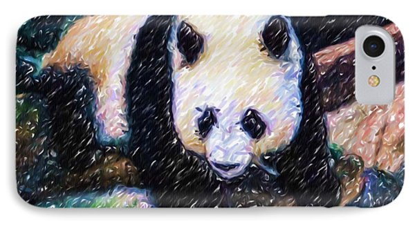 IPhone Case featuring the painting Panda In The Rest by Lanjee Chee