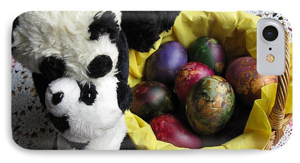 Pandas Celebrating Easter Phone Case by Ausra Huntington nee Paulauskaite