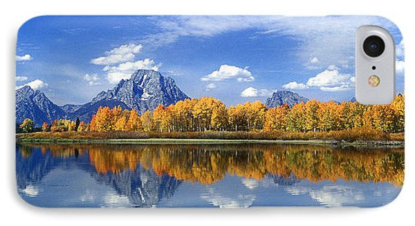 Panorama Fall Morning At Oxbow Bend Grand Tetons National Park IPhone Case