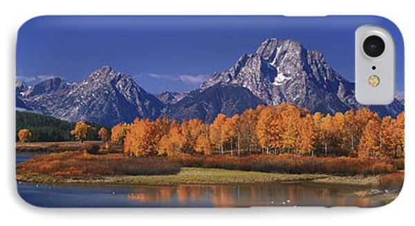 IPhone Case featuring the photograph Panorama Fall Morning Oxbow Bend Grand Tetons National Park Wyoming by Dave Welling