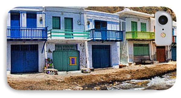 Panorama Of Tiny Colorful Fishing Huts In Milos Phone Case by David Smith