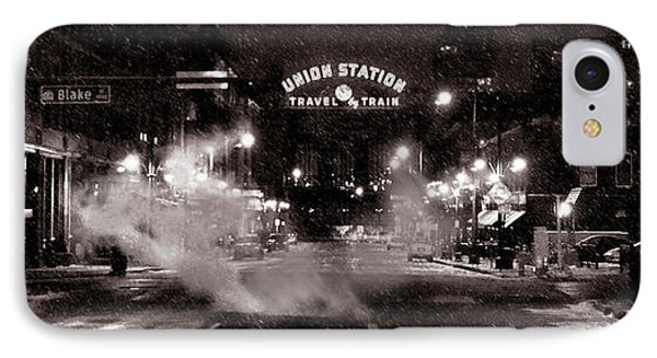 Panorama Of Denver Union Station During Snow Storm IPhone Case by Ken Smith