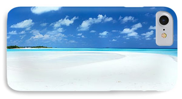 Panorama Of Deserted Sandy Beach And Island Maldives Phone Case by Matteo Colombo