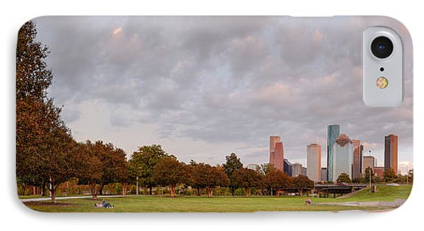 Panorama Of Downtown Houston And Police Memorial - Houston Texas IPhone Case by Silvio Ligutti