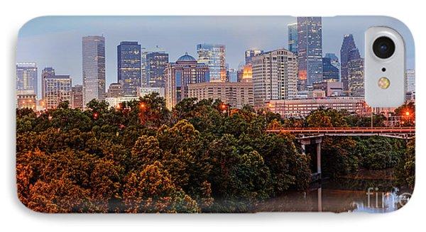 Panorama Of Downtown Houston At Dawn - Texas IPhone Case by Silvio Ligutti