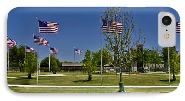 IPhone Case featuring the photograph Panorama Of Flags - Veterans Memorial Park by Allen Sheffield