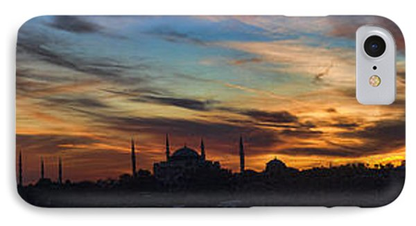 Panorama Of Istanbul Sunset- Call To Prayer Phone Case by David Smith