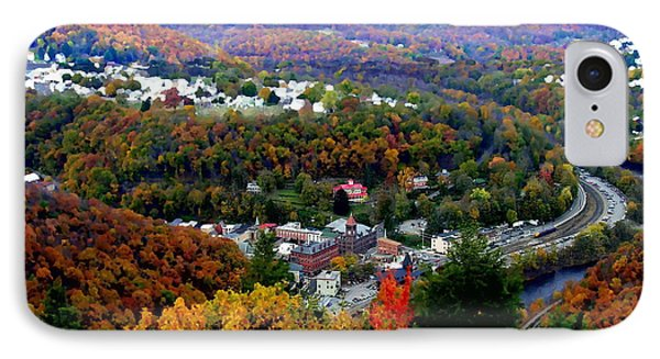 Panorama Of Jim Thorpe Pa Switzerland Of America - Abstracted Foliage IPhone Case by Jacqueline M Lewis