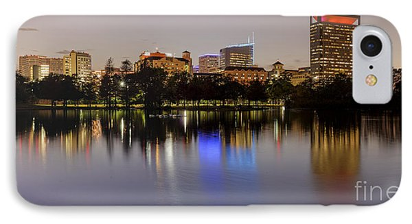 Panorama Of Mcgovern Lake And Texas Medical Center At Twilight- Hermann Park Houston Texas IPhone Case by Silvio Ligutti