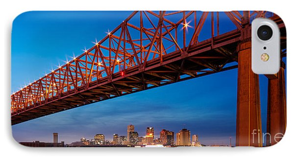 Panorama Of New Orleans And Crescent City Connection From Gretna At Dusk - Louisiana IPhone Case