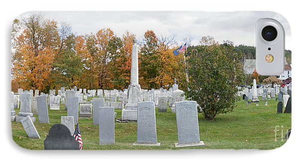 Panorama Of Stowe Community Church Cemetary Stowe Vermont IPhone Case by Thomas Marchessault