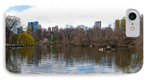 Panorama Of The Lake Of Central Park New York City Phone Case by Thomas Marchessault