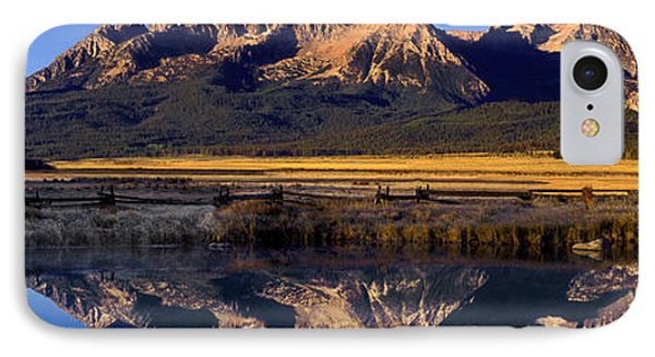Panorama Reflections Sawtooth Mountains Nra Idaho IPhone Case by Dave Welling