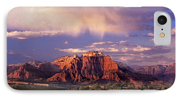 Panorama West Temple At Sunset Zion Natonal Park IPhone Case by Dave Welling