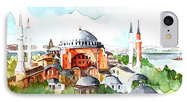 Panoramic Hagia Sophia In Istanbul IPhone Case by Faruk Koksal